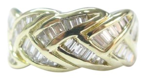 Other 18Kt Baguette Diamond Criss Cross Jewelry Band Ring Yellow Gold 1.00CT
