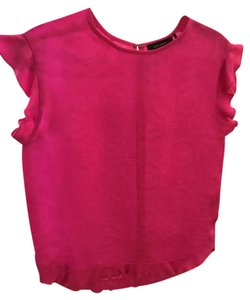 Isabel Marant Cap Sleeve Frilly Summer Pink Top Neon Pink