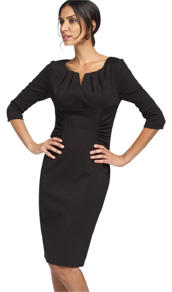Adrianna Papell Black New Ruched Matte Jersey Sheath Short Work ...