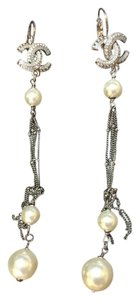 Chanel Chanel CC Logo Crystal Earrings with Pearls