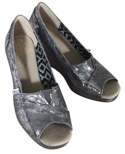 TOMS silver sequin Wedges