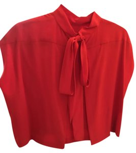 Chloé Chloe Silk Cape Top Red