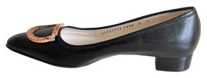 Salvatore Ferragamo Vara Low Heels Saffiano Leather Black Pumps