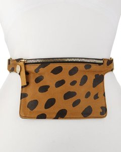 Clare V. Leopard Leather Fanny Pack Waist Belt Cross Body Bag