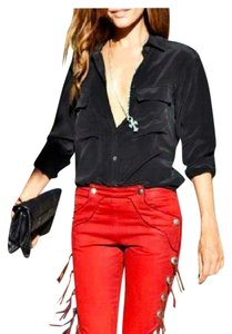 Isabel Marant Fringe Fringed Red Straight Leg Skinny Pants blood burgundy