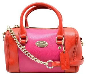 Coach Satchel in Cardinal/Pink Ruby