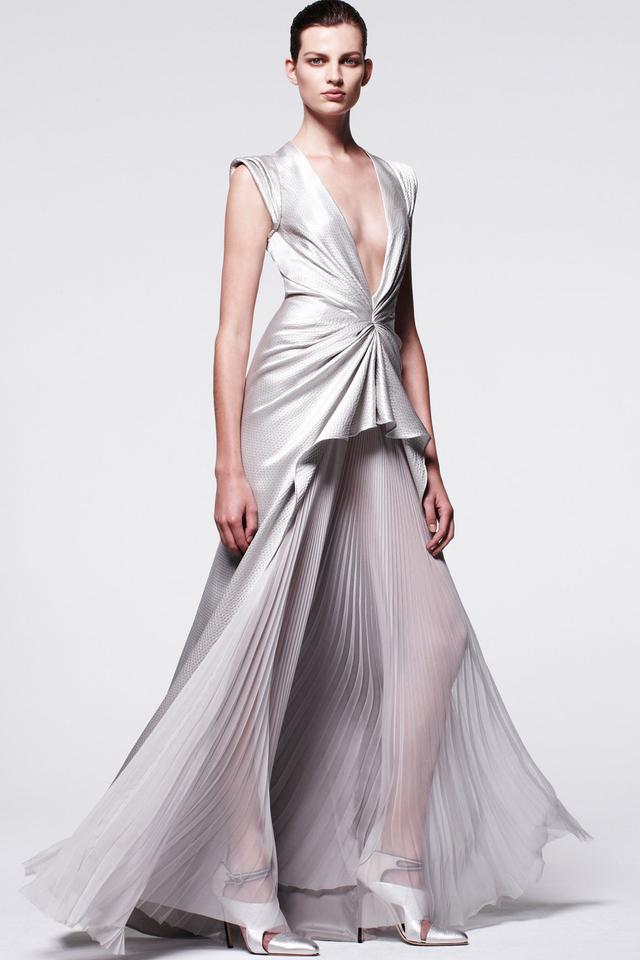 J. Mendel Silver Evening Gown Long Formal Dress Size 4 (S) - Tradesy