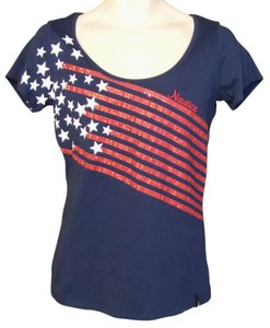 Nautica 4th Of July Sequins Scoop Neck Short Sleeves T Shirt Blue, red & white