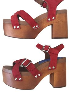 Jeffrey Campbell red Mules