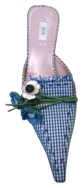 Item - Navy Plaid with Flowers Mules/Slides Size US 7 Narrow (Aa, N)