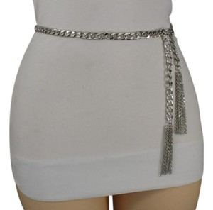 Other Women Chunky Silver Metal Chains High Waist Hip Plus Size Belt Fringes
