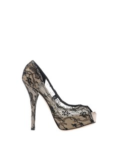 Dolce&Gabbana Hidden Platform High Heels Designer Lace Covered black, tan, nude Pumps