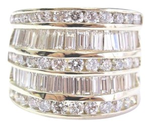 Other Fine Round & Baguette Diamond WIDE Yellow Gold Jewelry Ring 14Kt 3.26C