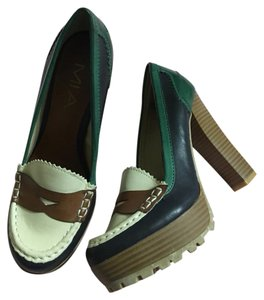 MIA green, brown, cream Mules