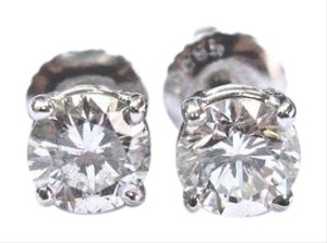Other Fine Round Cut Diamond Stud Earrings .90Ct SCREW BACK White Gold 14Kt