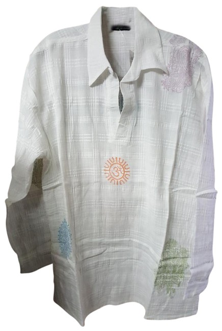 """Item - White Yoga Meditation From Higway 46"""" Bust Cotton Tunic Size 14 (L)"""
