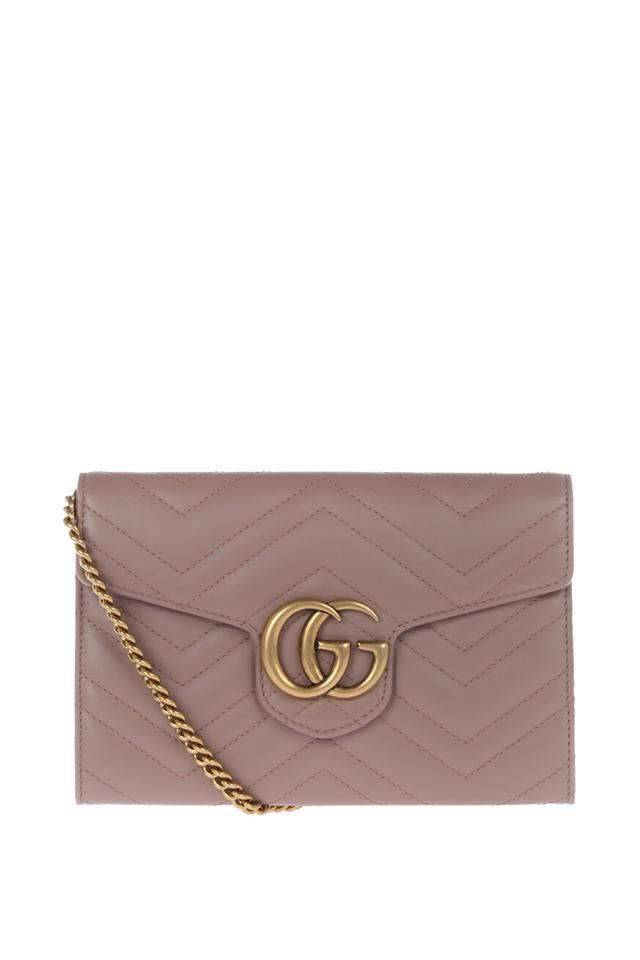 18082dbad Gucci Chain Wallet Marmont Gg Matelasse Dusty Rose Leather Shoulder ...