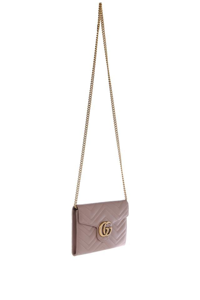 65d9c8051 Gucci Chain Wallet Marmont Gg Matelasse Dusty Rose Leather Shoulder ...