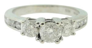Other Antique Three-Stone Engagement Diamond Ring- 10k White Gold