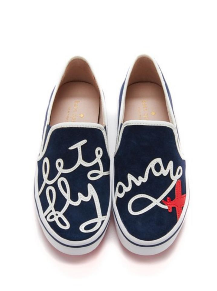 kate spade navy blue womens fashion sneakers let s fly away new