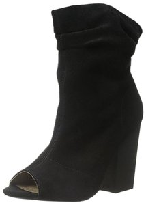 Chinese Laundry Open Toe Suede Slouchy Black Boots