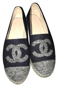 Chanel Navy and Grey Flats