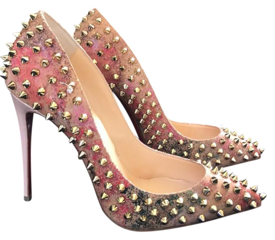 timeless design 11ec1 6f40b Christian Louboutin Follies Spikes Cork Blooming Beige Gold Multi Color  Stiletto Pumps Size EU 36 (Approx. US 6) Regular (M, B) 35% off retail