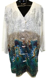 Citron Asian Silk Artsy Button Down Shirt Beige Multi