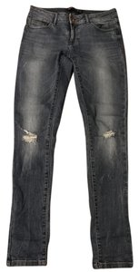 Zara Ripped Distressed Blue Skinny Jeans-Distressed