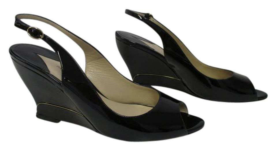 Paul Andrew Black Patent Leather Insert Open Toe Slingbacks Gold Insert Leather Wedges 138d2a