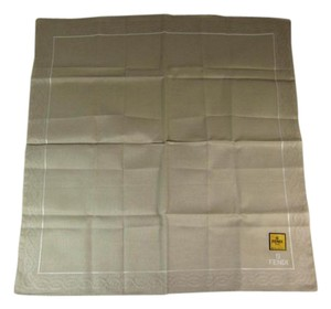 Fendi Beige, 100% Silk, Pocket Scarf Foulard