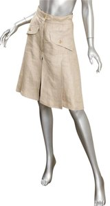 Chanel Casual Linen High-waisted Pleated Skirt Beige