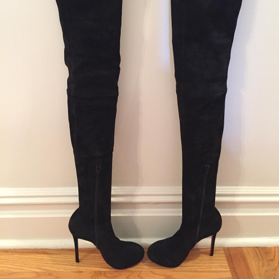 promo code d1075 ede3f Christian Louboutin Black Louise Xi 120mm Stretch-suede Over-the-knee  Boots/Booties Size US 7