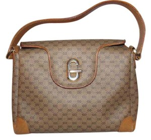 Gucci Gold Hardware Jackie Hobo Style Multiple Compartment Mint Vintage Satchel in brown small G logo print coated canvas and camel leather