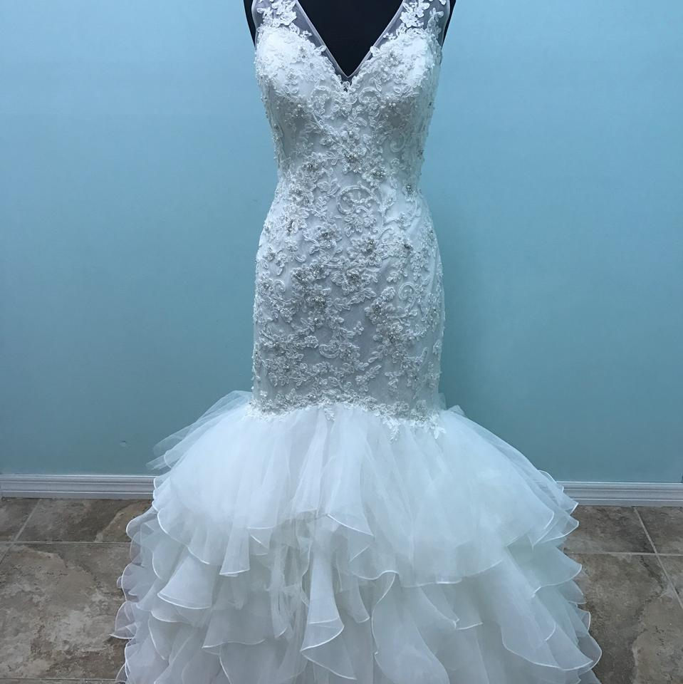 Mori Lee Ivory Lace Tulle and Organza 2819 Formal Wedding Dress Size ...