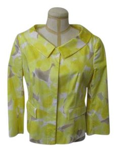 Rena Lange Lightweight Wool Size 12 Yellow with White and Tan Jacket