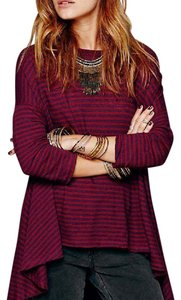 Free People Oversized Striped We The Free Bohemian T Shirt red