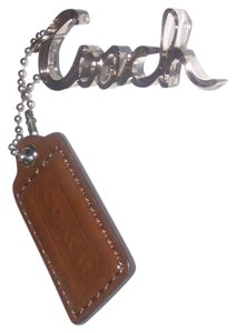 Coach NEW Coach Poppy brown leather/script hang tag Key chain/Key ring/ Fob
