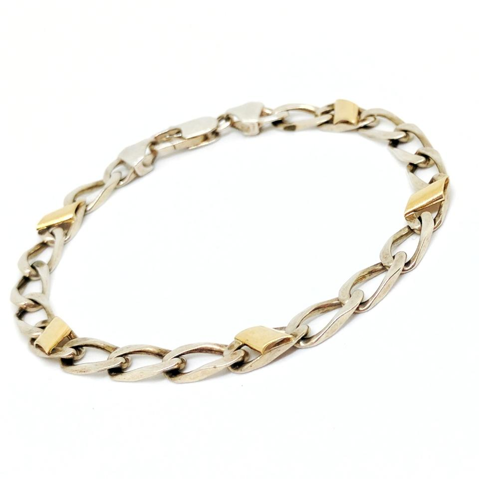Tiffany Co Silver And Gold Italian Curb Link Bracelet