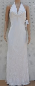 Galina Ivory Charmeuse Halter Shear A9177 Destination Wedding Dress Size 8 (M)