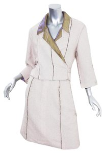 Chanel BOUTIQUE 99P Womens Cream Inside-Out Cropped Jacket Skirt Suit