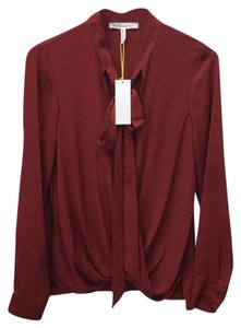 BCBGeneration Longsleeve Neck Scarf Red Silk Like Bcbg Top Apple