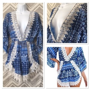 Other Bohemian Romper Bell Angel Sleeve Lace Swimming Coverup