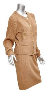 Chanel Women's Vintage Tan Camel Hair Knit Cardigan Sweater Skirt Outfit Set