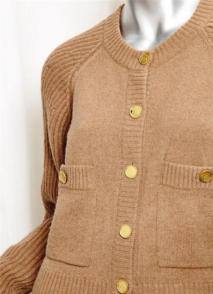 Chanel Tan Women's Vintage Camel Hair Knit Cardigan Sweater Outfit ...
