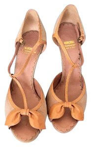 Moschino Chean Chic Heels Suede Patent Pink and Tan Sandals
