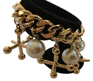 Kirks Folly Kirks Folly Signed Gold Tone Big Jax Jacks Faux Pearl Charm Bracelet