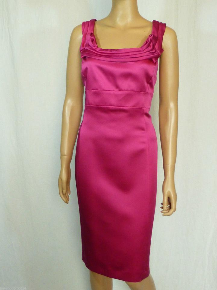 695c4e53147 Antonio Melani Pink Satin Sheath Short Cocktail Dress Size 12 (L ...