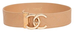 Chanel Vintage CC Logo Classic Beige Sahara Leather Quilted Belt