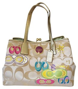 Coach Very Rare Studded Sequin Poppy Signature Satchel in Multicolor